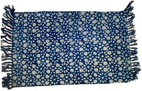 iinfinize – Alfombra de algodón 100% teñida con Nudos de Color Azul índigo, para meditación, Yoga o Interiores, para Exteriores: Amazon.es: Hogar