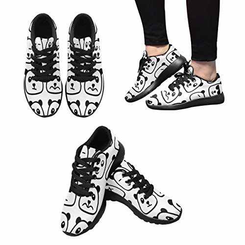 InterestPrint Womens Jogging Running Sneaker Lightweight Go Easy Walking Comfort Sports Athletic Shoes Panda Emotional Emoji Square Flat Faces Icon Multi 1 JF7B2V
