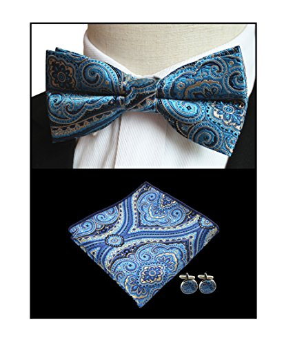 Men's Indigo Blue Floal Silk Bowtie Pocket Square Set Cravat Hanky Fancy BF Gift