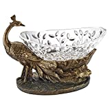 Design Toscano Peacock Presentation Crystal Bowl