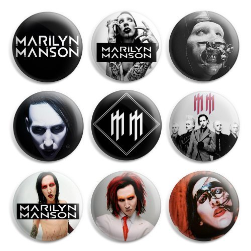(Marilyn Manson Pinback Buttons Pin Badges 1 Inch (25mm) - Pack of 9)