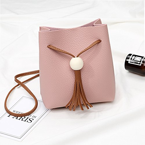 Cordón GUANGMING77 Borlas Gris Madera Pink Diagonal Bolsa De Bolsa Diagonal De FIrFfY