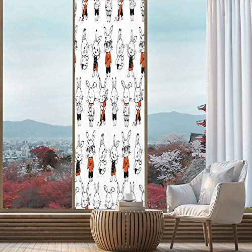 Privacy Frosted Decorative Vinyl Decal Window Film,Funny,for Bathroom, Kitchen, Home, Easy to Install,Cute Retro Bunny Rabbits with Costumes Jack Hare,24''x78'' ()