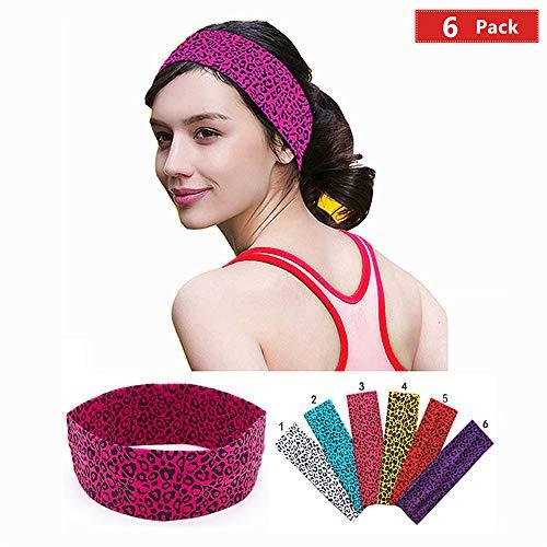 Pink Cheetah Print (KATCOCO Cotton Headbands 6 Pack Stretch Elastic Yoga Soft and Stretchy Sports Fashion Headband for Teens Women Girls Leopard)