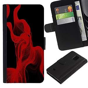 Paccase / Billetera de Cuero Caso del tirón Titular de la tarjeta Carcasa Funda para - Red Lines Abstract - Samsung Galaxy S5 Mini, SM-G800, NOT S5 REGULAR!