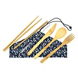 Bam-Booty Bamboo Utensil Set with Reusable Straws and Straw Cleaner, Cutlery Flatware for Travel & Camping, Compostable Fork, Spoon, Knife, Chop Sticks in Eco Friendly Packaging