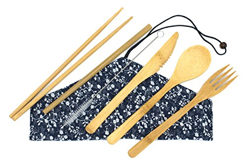 Bam-Booty Bamboo Utensil Set with Reusable Straws and Straw Cleaner, Cutlery Flatware for Travel & Camping, Compostable Fork, Spoon, Knife, Chop Sticks in Eco Friendly -