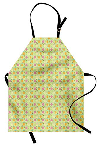 Pastel Apron, Pattern with Fruits Berries and Jars of Jam on Pale Green Sweet and Homemade Taste, Unisex Kitchen Bib Apron with Adjustable Neck for Cooking Baking Gardening, Multicolor -