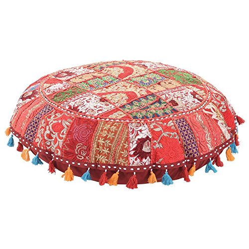 Beautiful Red Color Ruond Ottoman Indian Patchwork Pouffe,Indian Traditional Home Decorative Handmade Cotton Ottoman Patchwork Foot Stool- Floor Cushion Decor,Embroidered Chair Cover Foot Stool 32''