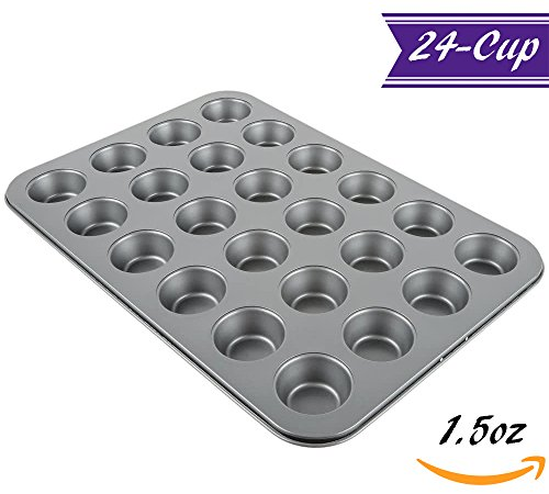 Small Cupcake Pan / 24-Cup Muffin Pan by Tezzorio, 15 x 10-Inch Nonstick Carbon Steel Muffin Mold Pan, Cupcake Baking Pans / Muffin Trays, Professional (Carbon Steel Non Stick Muffin Pan)