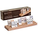Yellow Mountain Imports Domino Racks (Trays), Premium Beechwood, Set of 4, Perfect for Mexican Train Dominoes and Chickenfoot Dominoes