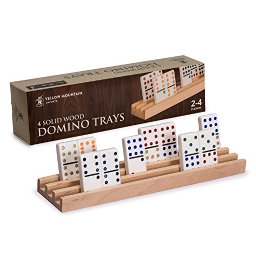Mexican Train Set - Yellow Mountain Imports Domino Racks/ Trays (Set of 4) - Premium Beechwood - Durable - Handcrafted for Ideal Domino Trays - Smooth Surface for No Splinters - Dominos NOT Included