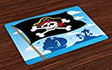 kitchen island design ideas Lunarable Pirate Place Mats, Danger Sign Beware of Pirates Skull with Hat Flag Deserted Island in The Back, Washable Fabric Placemats for Dining Room Kitchen Table Decoration, Blue Black White