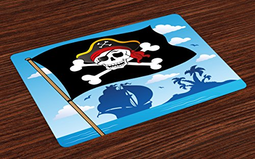 Lunarable Pirate Place Mats, Danger Sign Beware of Pirates Skull with Hat Flag Deserted Island in The Back, Washable Fabric Placemats for Dining Room Kitchen Table Decoration, Blue Black White