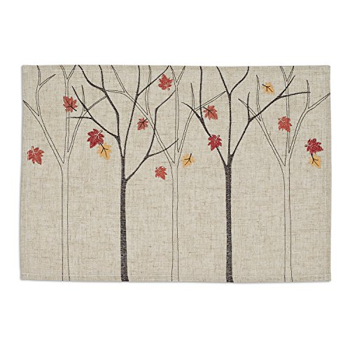 Falling Leaves Picture (DII Polyester Placemat, Set of 6, Embroidered Falling Leaves - Perfect for Fall, Thanksgiving, Friendsgiving and Dinner Parties)
