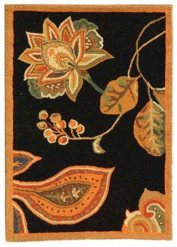 [Safavieh Chelsea Collection HK209C Hand-Hooked Black and Orange Premium Wool Area Rug (2'6