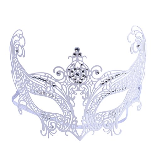 [Cozypony Metal Laser Cut Luxury Masquerade Masks with Rhinestones Baron Half Mask for Dance Performance Party, Mardi Gras or Prom Masks (Butterfly,] (Red Baron Baby Costume)