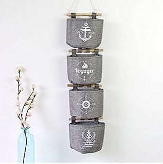 Starsglowing 4er Set Hängeorganizer Utensilientasche Wand  Aufbewahrungstasche Hängetasche Aufbewahrungsbeutel (Grau)