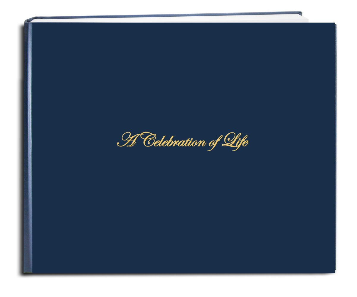 """Smyth Sewn Hardbound Blue Imitation Leather 48 Page - 8 7//8 x 7/"""" Funeral-REG LOG-048-97CS-LBT64- BookFactory Funeral Guest BookA Celebration of Life // Memorial Book//Memorial Guest Book"""