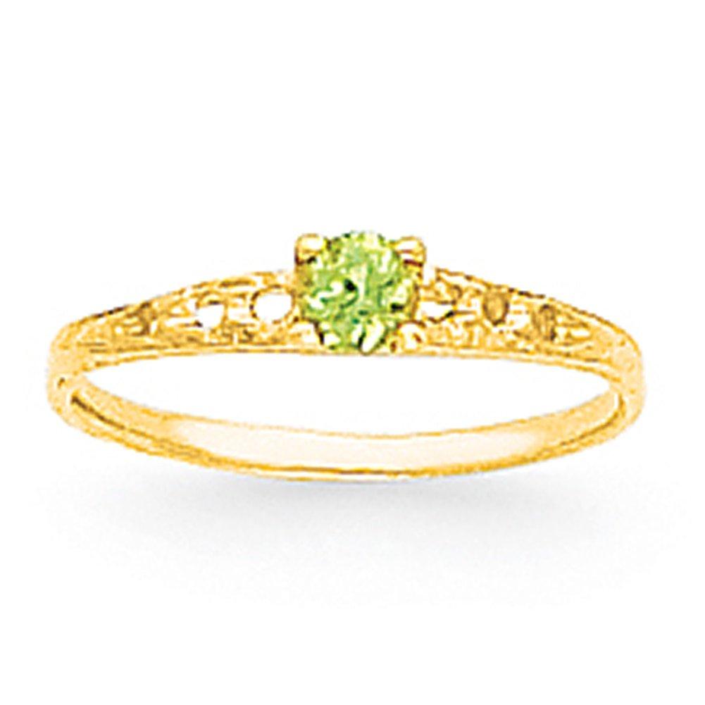 Lex /& Lu 14k Yellow Gold Madi K 3mm Peridot Birthstone Baby Ring