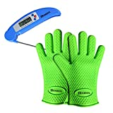 Homdox® BBQ Silicone Gloves + Instand Read Meat Thermometer Set (Green)