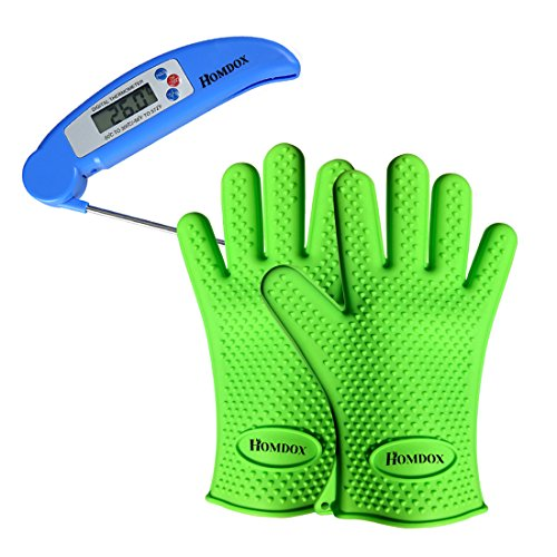 Homdox® BBQ Silicone Gloves + Instand Read Meat Thermometer Set (Green) by Homdox