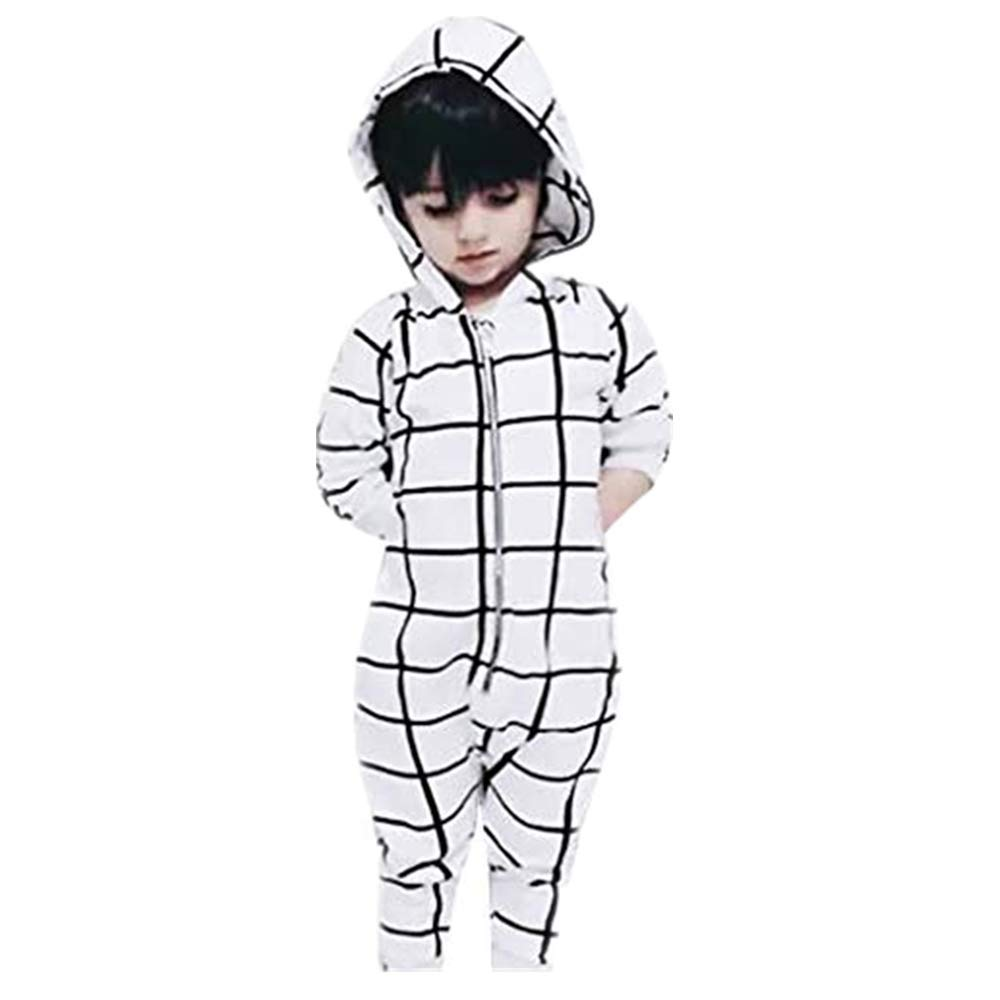 NUWFOR Infant Baby Boys Girls Long Sleeve Plaid Print Hoodie Romper Jumpsuit Clothes (White,0-3 Months
