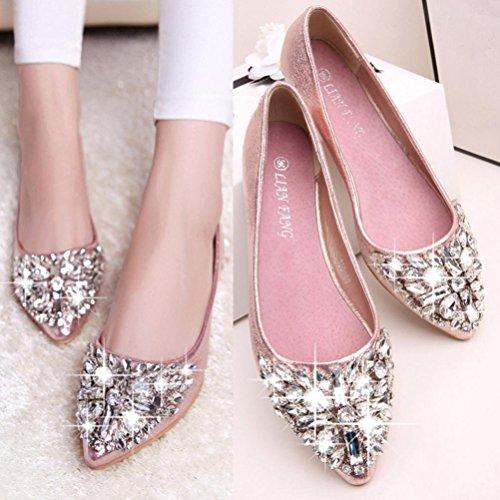 Tenworld Dames Strass Glitter Ballet Slip Op Jurk Puntschoen Flats Roze