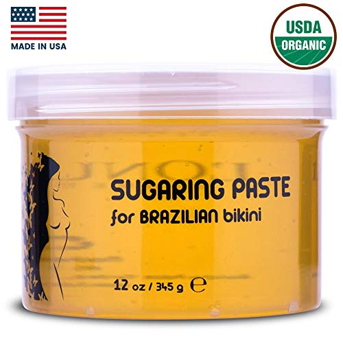 L'Onua Brazilian Sugaring Paste Hard Wax (12 oz.) Sugar Hair Removal for Women and Men | Natural, Organic | Arms, Legs, Back, Bikini Line, Personal Areas (Best Wax Strips For Bikini Line)
