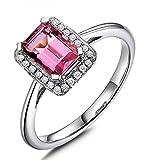 Cyber Monday Black Friday Sale 2015 Prime Deals Vintage 14K Solid White Gold Gemstone Pink Tourmaline Wedding Bridal for Women Engagement Ring Set