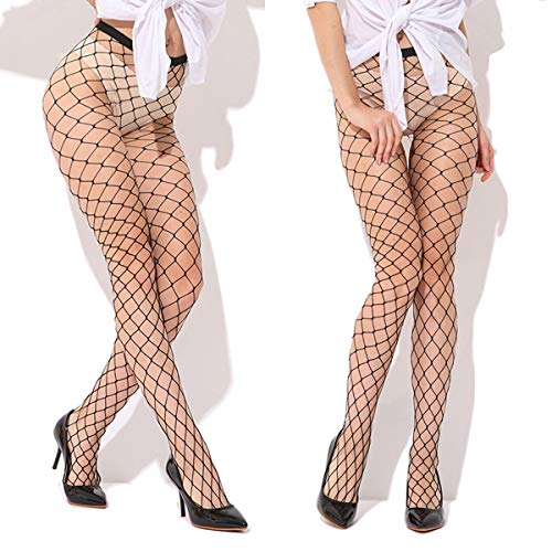 High waist Fishnet Tight Sexy Black Plus Size pantyhose Thigh high Net Stockings