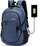 Laptop Computer Backpack Hopesport External USB Charge Port with Built-in USB Charging Cable School Travel Backpacks (blue)