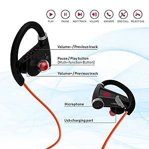 [Newest 2018] Bluetooth Headphones w/ 12+ Hours Battery - Best Wireless Sport Earphones, Mic - IPX7 Waterproof Music in-Ear Earbuds Gym, Running, Workout Men, Women