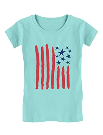 c64fe2a2bfc7 Children s Drawing USA Flag - 4th of July American Flag Toddler Kids Girls   Fitted