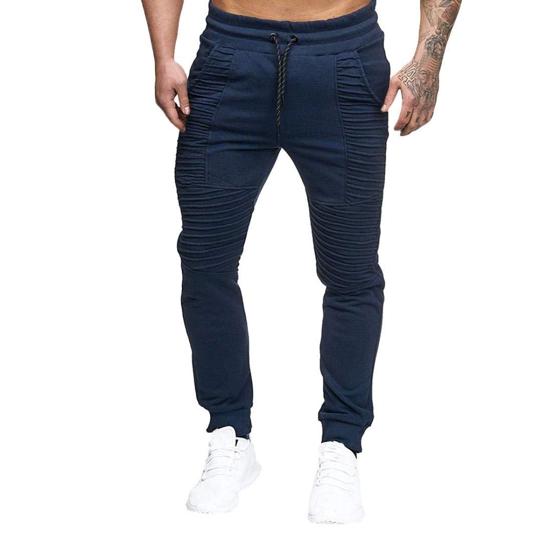 SCSAlgin Pants Fashion Men's Sport Striped Lashing Belts Casual Solid Drawstring Pant Sweatpants (Navy, L)