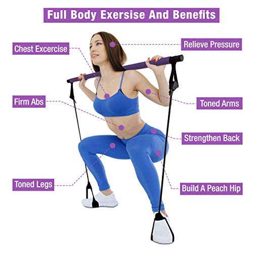 Gotical Pilates Bar with Resistance Band – Home Gym Exercise – Portable & Adjustable Yoga Toning Bar Kit with Foot Loops…