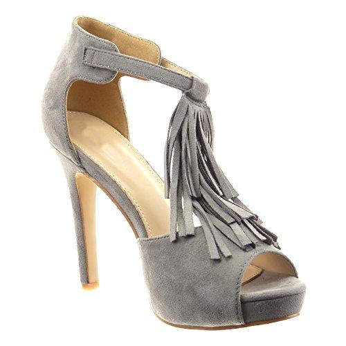 Sopily - damen Mode Schuhe Pumpe T-Spange Franse - Grau