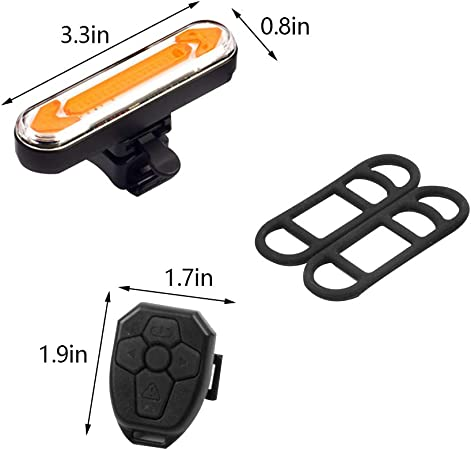 Jroyseter Wireless Remote Bicycle Tail Light Bike Rear Alarm Light with Three Modes USB Rechargeable LED Turn Signal Light for Safty Night Day Riding
