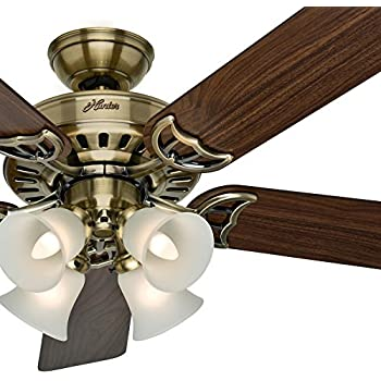 Hunter 53116 the sontera 52 inch hunter bright brass finish ceiling hunter fan antique brass ceiling fan with a clear frosted glass light kit 5 blade certified refurbished aloadofball Image collections