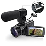 WiFI Camera Camcorder, Eamplest Full HD 1080P 30FPS 24MP 16X Digital Zoom Video Camera, Handheld Digital Camera Recorder with External Microphone and Wide Angle Lens (HDV-Z20)