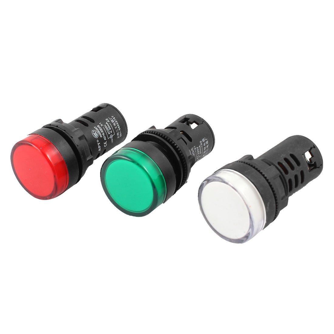 Sourcingmap® AC 220V 20 mA LED Lampe de signalisation Rouge Vert 16-22D AD S/Blanc Lot de 3