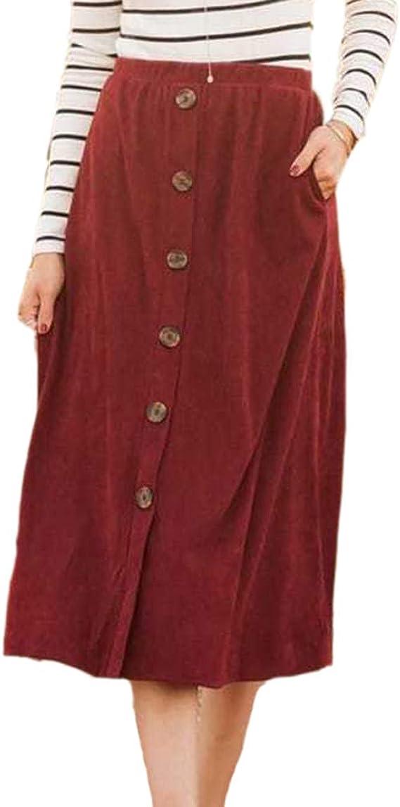 Mujer Faldas Elegantes Cintura Alta Falda Larga Moda Color Sólido ...