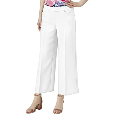 INC Womens Cropped Regular Fit Wide Leg Pants White 14 at Women's Clothing store