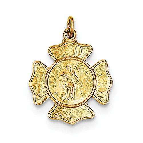 - 24k Gold-plated Sterling Silver Saint Florian Fireman's Badge Medal