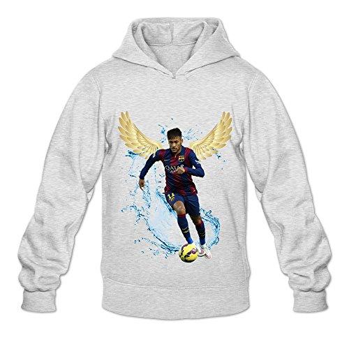 Soulya Men's Neymar Da Silva Santos Jr Street Hoodies Sweatshirt Size L US Ash