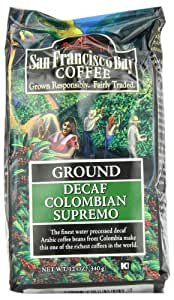 San Francisco Bay Coffee Ground, Decaf Colombian Supremo, 12 Ounce
