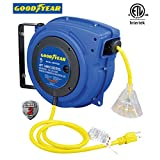 Goodyear Extension Cord Reel, 40 ft., 14AWG/3C SJTOW, Triple Tap with LED Lighted Connector, Heavy Duty