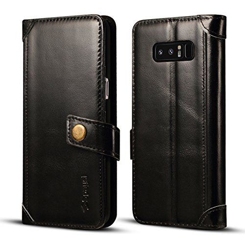 Spaysi Samsung Galaxy Note 8 Wallet Case Italian Genuine Leather Handmade Case for Note 8 Card Holder Case Slim Note 8 Flip Cover Case Book Style Note 8 Folio Case Magnetic Closure