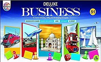 Ratnas Fun Filled Business 5 in 1 Deluxe Game with Plastic Money Coins for Young Businessmen to Learn Trading and Other Systems of Buying and Selling