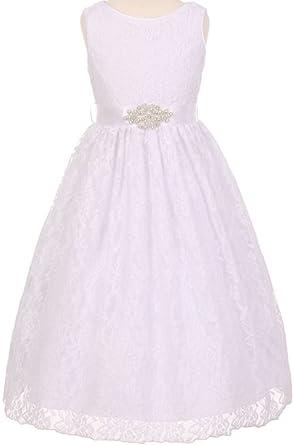 d96e28bac1a Little Girls Lace Beaded Satin Sash Communion Flower Girls Dresses (20C10C)  White 6